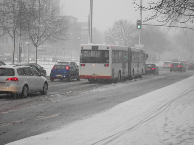 Adenauerplatz im Schneetreiben
